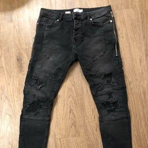 Topman Black Ripped Skinny Jeans Zipper